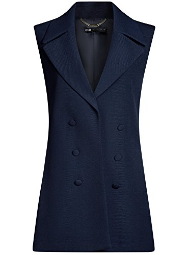 Azul Chaleco Oodji Decorativos Mujer Collection Con 7900n Botones Largo ABP0Bqw