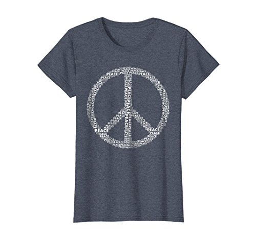 Womens Peace Sign T Shirt Love All World Peace Tshirt Large Heather Blue