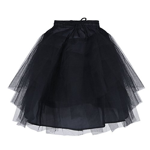 Agoky Kids Girls 3 Layers Wedding Petticoat Underskirt Tutu Half Slips Skirted Black One Size ()