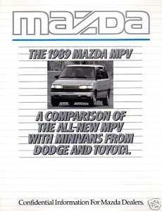 1989 MAZDA MPV COMPARISON TO MINIVANS SALES BROCHURE - DODGE CARAVAN - TOYOTA - USA - Usa Caravan