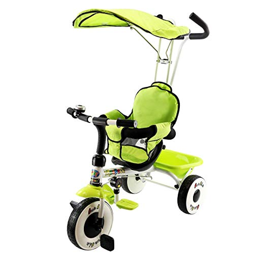 Costzon 4-in-1 Kids Steer Tricycle Stroller Bike w/Canopy Basket (Single Tricycle, Green)