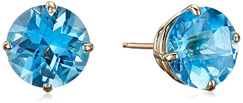 10k Yellow Gold 8mm Round Checkerboard Blue Topaz Stud Earrings