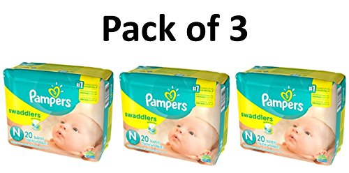 Pampers Swaddlers Diapers, Size Newborn, 20 Count Pack of 3 (Total of 60 Pampers) by Pampers