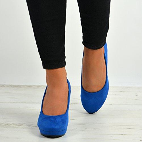 Wedge High Shoes Cucu 8 Blue Fashion Dark UK On 3 Slip Pumps Ladies Platform Size Womens Heel wIwR41