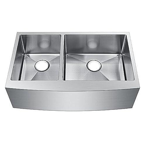 Starstar 33 X 20.75 Inch Undermount Farmhouse Apron 40/60 Double Bowl 16  Gauge Stainless Steel Kitchen Sink