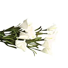 Compia PE 46cm Artificial Fake Flowers Leaf Calla Lily Floral Wedding Bouquet Party Home Cafe Decoration