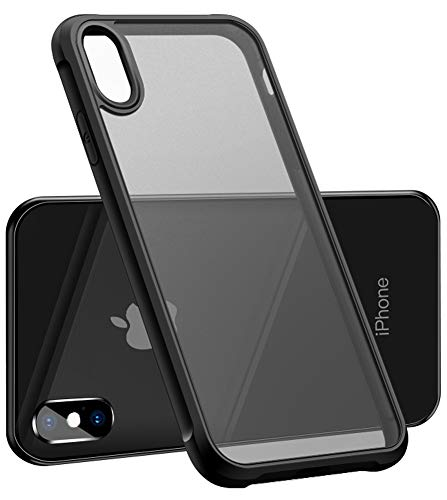 iPhone XR Case, iPhone 10R Case, SINIANL Hybrid Transparent Frosted Clear Case with Shockproof Soft TPU Bumper Anti-Yellow Heavy Duty Drop Protective Cover for Apple iPhone XR 6.1 Inch Black