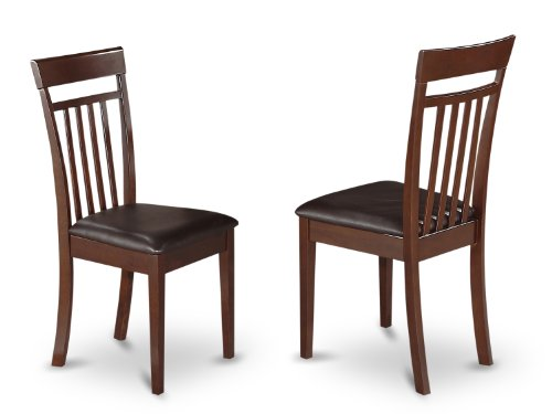 CAC-MAH-LC Slat Back Chair Set for Dining Room with Leather Seat, Set of 2 ()