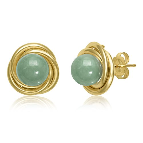 14k Yellow Gold Infinity Love Knot Natural Jade Stud Earrings by Pearlzzz (Image #4)
