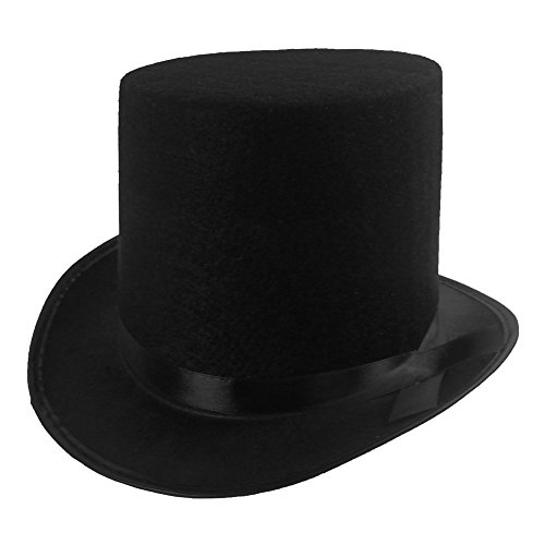 Funny Party Hats Black Felt Top Costume Hat (Black - 1 Pack) - Gothic Top Hat