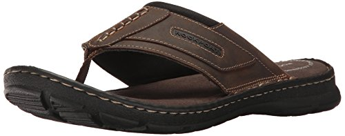 Rockport Men's Darwyn Thong Flip Flop - Brown Ii Leather ...