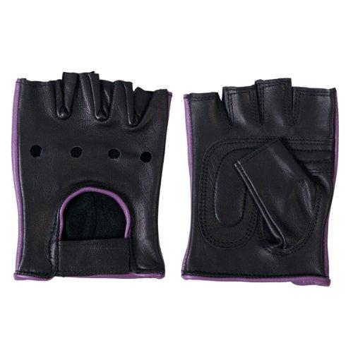 Hot Leathers Women's Fingerless Gloves (Black/Purple, (Leather Fingerless Riding Gloves)