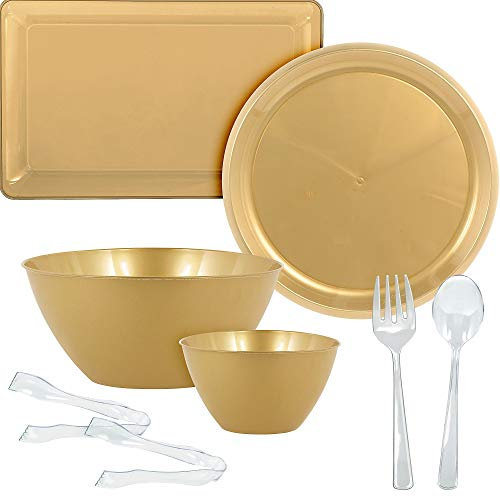 Party City Gold Serveware Supplies, Includes 2 Plastic Platters, 2 Plastic Bowls, 2 Pairs of Tongs, and Serving Utensils]()