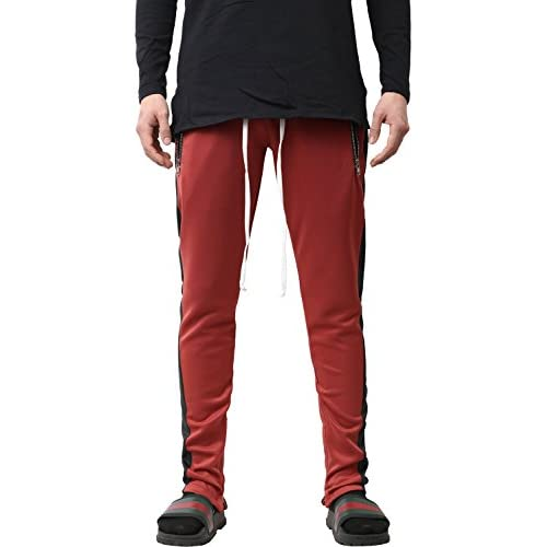 2271a62e02a Hat and Beyond VW Mens Stripe Track Pants Skinny Fit Stretch Casual Elastic  Athletic Slim Joggers