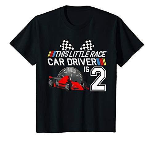 (Kids 2 Year Old Race Car Birthday Shirt 2nd Racing Party Gift Tee)