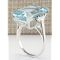 Promsup Vintage Women 925 Silver Aquamarine Gemstone Ring Wedding Jewelry Size 6-10 (8)