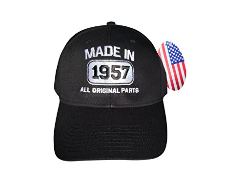 [60 st Anniversary Made In 1957 All Original Parts Birthday Gift Idea Adult Cap Black Embroidery Hat] (Sixties Costumes Ideas)
