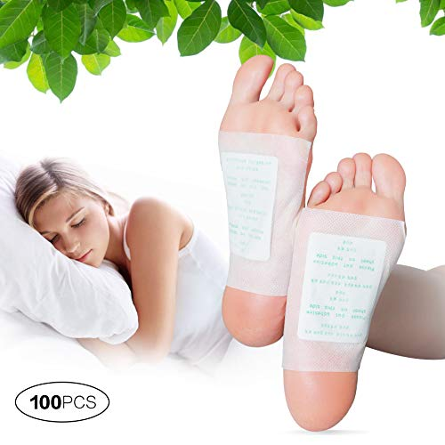 Hecmoks Foot Pads -- Natural Cleansing Foot Pads for Foot Care, Sleeping & Anti-Stress Relief, No Stress Package [100 Packs](Black)