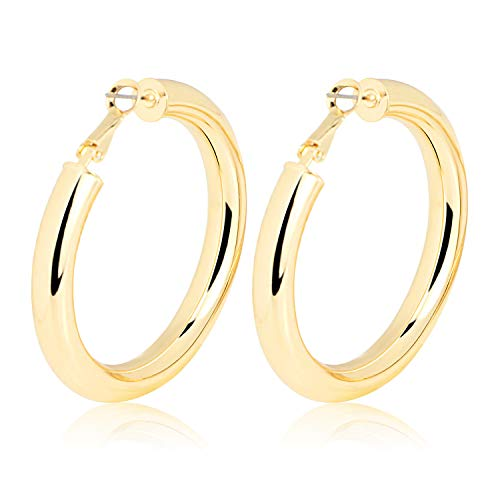 Gold Hoop Earrings 2 inch Round Tube Statement Large Hoops Yellow Gold Plated Lightweight Solid Hoop Earrings for Women Girls - Gold 1/2 Oz Tube