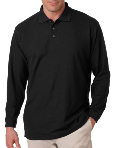 ultraclub-adult-long-sleeve-whisper-pique-polo-black-l