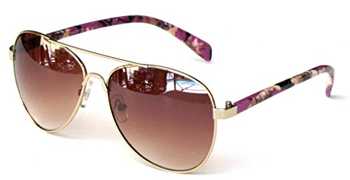 Women's Polarized Camouflage Sunglasses Aviator – Purple Camo Frame Amber - Camo Sunglasses Lens