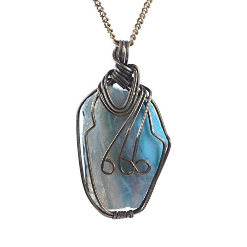 (Bonnie Aquamarine Wire Wrapped Pendant Necklace Polished Irregular Agate Jewelry Beach Necklace for Her (Bronze))