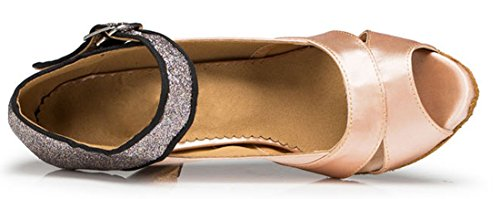Tda Donna Formale Tacco A Spillo Singolo Cinturino In Raso Glitterato Scarpe Da Ballo In Punta Di Piedi Latino Beige