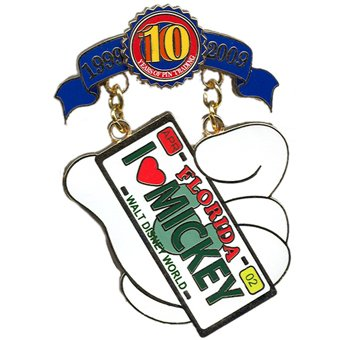 Disney Pin - Disney Pin Trading 10th Anniversary - Tribute Collection - Limited Edition -Cast Lanyard Series - I Heart Mickey License Plate Pin 75230 -