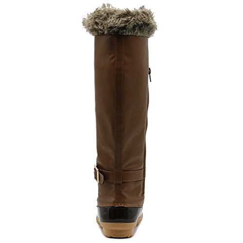 Ollio Women's Tan Shoe Fur High Lace Boots Knee Duck Up Faux Buckled ArrdZqPO