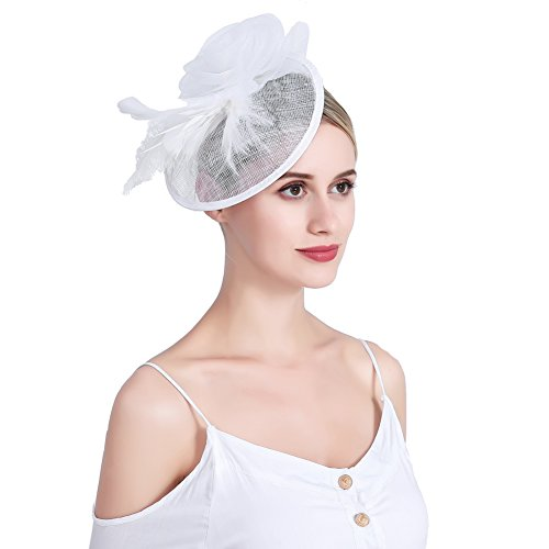 inSowni Flower Tea Party Sinamay Fascinators Hat Cap Feather Mesh Headband Clip for Women Girls (White S2) by inSowni (Image #3)