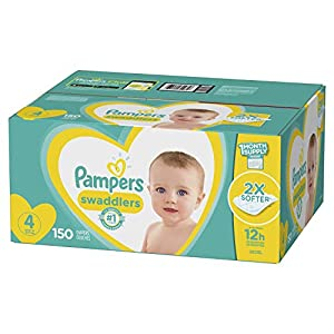 Diapers Size 4, 150 Count – Pampers Swaddlers Disposable Baby Diapers, One Month Supply