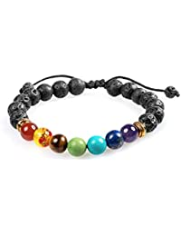 7 Chakra Healing Bracelet with Real Stones, Volcanic...