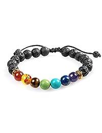 7 Chakra Healing Bracelet with Real Stones, Volcanic Lava, Mala Meditation Bracelet - Men's and Women's Religious Jewelry - Wrap, Stretch, Charm Bracelets - Protection, Energy, Healing