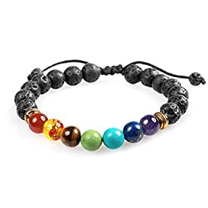Adjustable 7 Chakra Healing Diffuser Bracelet with Real Stones and Volcanic Lava, Mala Meditation Bracelet - Men's and Women's Religious Jewelry - Wrap, Stretch, Charm Bracelets