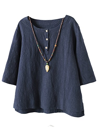 Minibee Women's 3/4 Sleeve Cotton Linen Jacquard Blouses Top T-Shirt (M, Navy Blue)