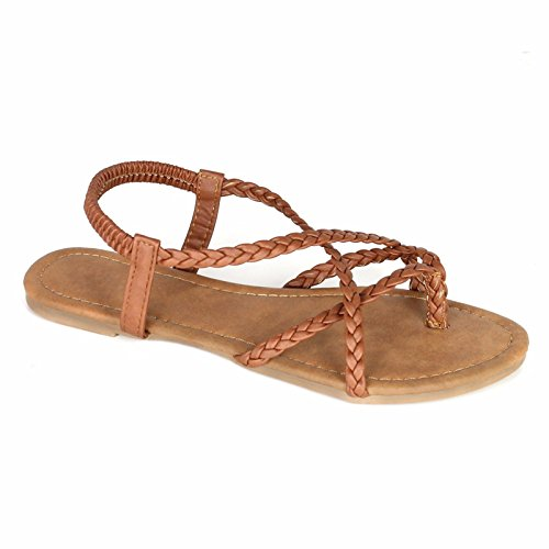 ANNA Footwear Women's Braided Strappy Gladiator Flat Sandal Y-Strap Thing Flip Flop Sandals (11, -