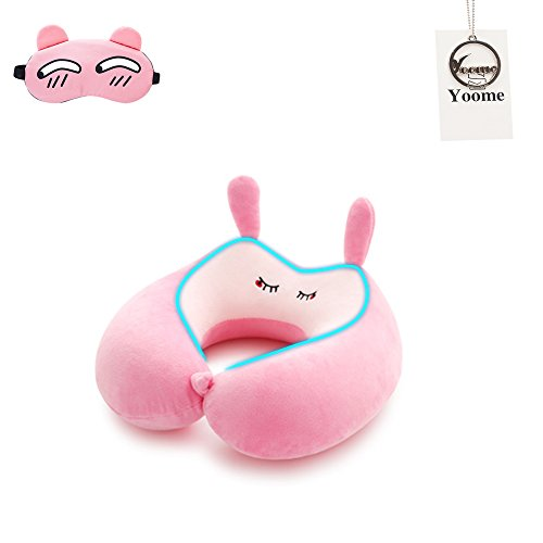 Yoome Travel Pillow U Shaped Cushion Neck Pillow Plane Pillow Cartoon Animal Memory Foam Neck Support for Kids and Adults Great for Train, Airplane, Office,with Free Sleep Mask & A Pair of Earplugs by Yoome