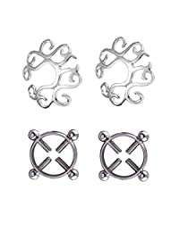 MagiDeal 2 Pairs NippleRings Shields Screw and Flower Clip On Nipplering Shield Body Jewelry Adjustable Circle