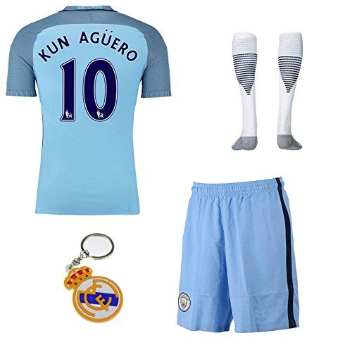 2016/2017 Manchester City #10 kun aguero home Soccer Football Jersey Sportswear Team Polo Shirt & Short & Socks & Keychain (16-18 years)