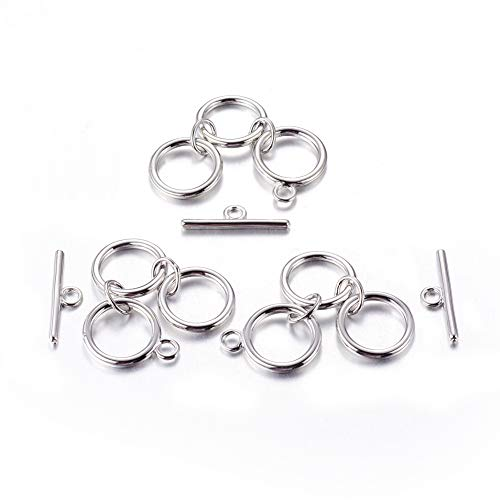Beadthoven 10Sets Toggle Clasp Sets Tibetan Style Brass Three Rings Toggle Clasp Sets Platinum Color Bracelets Connector Findings for Jewelry Making Supplies Handmade Accessories Decoration