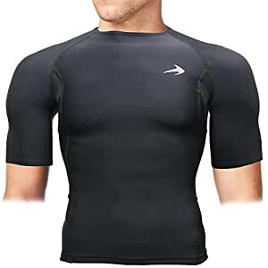 CompressionZ Men's Short Sleeve Compression Shirt - Athletic Base Layer Black