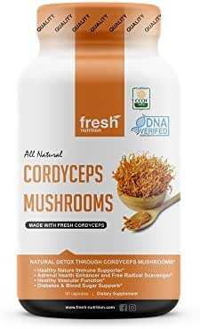 Cordyceps Mushrooms - Strongest 1500mg Per Serving Certified Organic DNA Verified Powder Capsules at Special Launch Price- Great for Immunity, Adrenals, Free Radicals, Vascular Function, Blood Sugar
