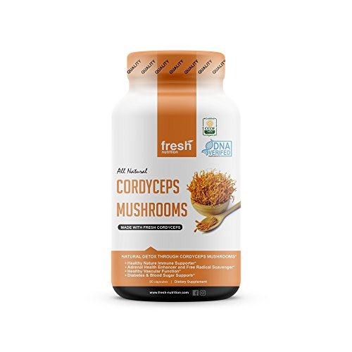 Cordyceps Mushrooms - Strongest 1500mg Per Serving Certified Organic DNA Verified Powder Capsules - Great for Immunity, Adrenals, Free Radicals, Vascular Function and Blood Sugar ()