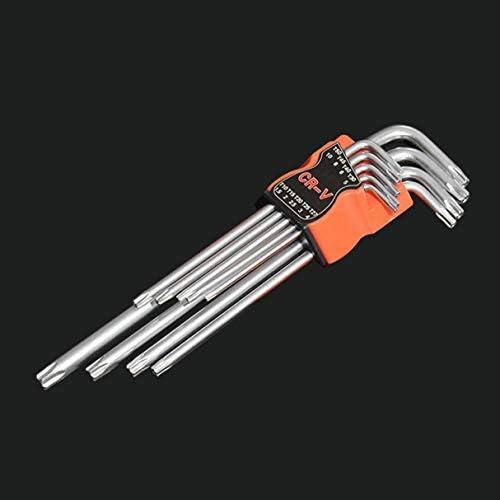 9個プラムスター六角レンチトルクスL形修復ツールドライバーツールセットCR-V鋼のトルクスパナを設定します。