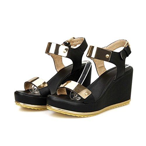 Sandalen Damen 34 Adee Schwarz Metalornament Pu Offene Größe yfFwx1pqw
