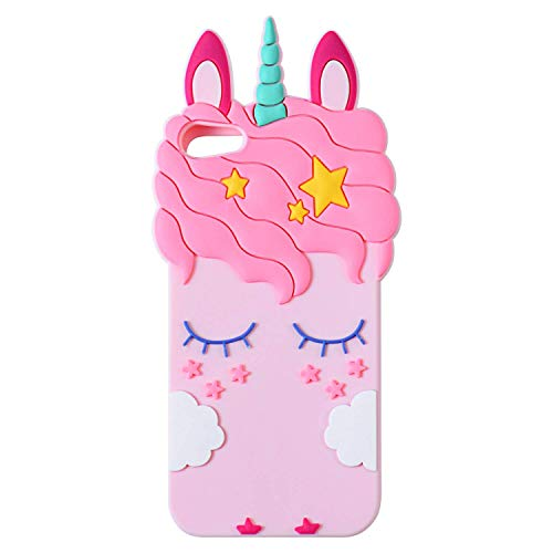 (TopSZ Pink Unicorn Case for iPod Touch 6th,5th,Silicone 3D Cartoon Animal Cover,Kids Girls Teens Boys Animated Design Cool Cute Kawaii Soft Rubber Funny Unique Character Cases for iPod 5 6 Generation)