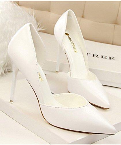 Elegante Semplice Minetom Tacco Pump Scarpe Sandali Shoes Scarpe Bianco Sera Stiletto Donna Col Scamosciato Partito Di xFFnz0Y