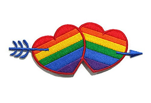 Rainbow Heart Love Cupid Sign Happy DIY Embroidered Sew Iron on Patch by OliveTH