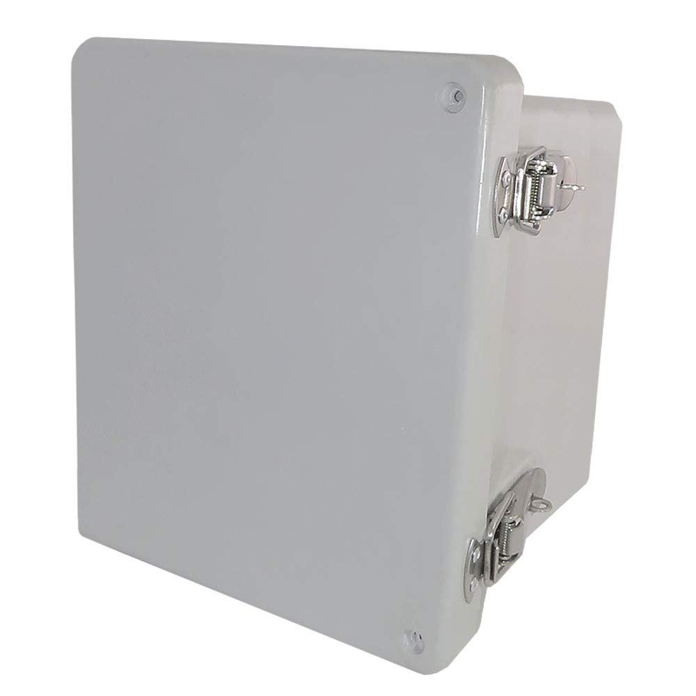 Altelix 10x8x6 FRP Fiberglass NEMA 4X Box Weatherproof Enclosure with Hinged Lid & Stainless Steel Latches