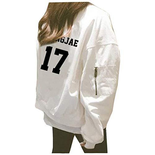 Alta Cerniera Giubbino 6 Sciolto Di Lunga Manica Eleganti Ragazza Chic Casual Digitale Giaccone Plus Primaverile Qualità Moda Autunno Outerwear Cappotto White Prodotto Donna Con Stampate pSqPRwp74